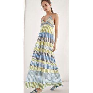 MASSIMO DUTTI 100% silk halter maxi dress